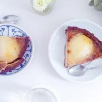 Tarte aux poires façon crème brûlée à la crème de marron
